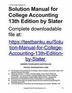 Solution Manual For College Accounting 13th Edition By