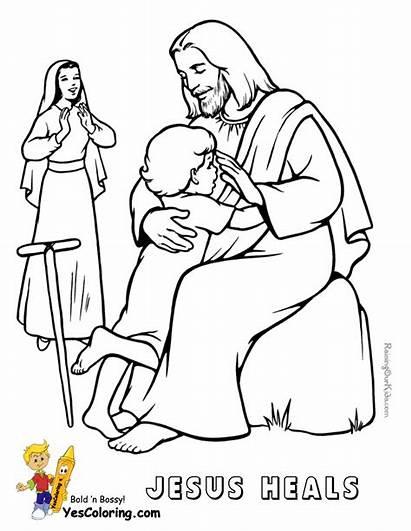 Jesus Coloring Heals Boy Lame Bible Pages