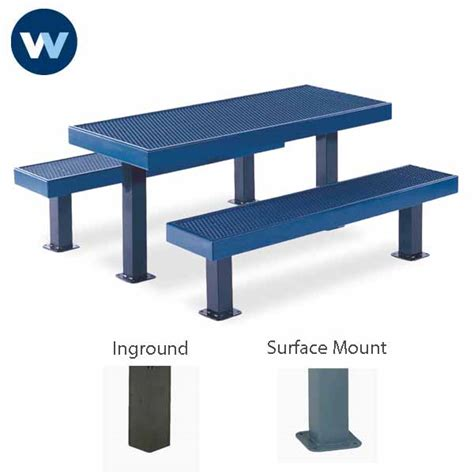 picnic table commercial rectangular 8 ft snow load