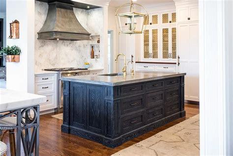 blue gray kitchen island  zinc countertop  sink