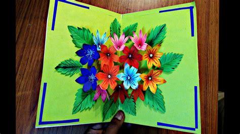 diy flower bouquet pop  card paper crafts handmade craft