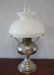 antique rayo nickel kerosene oil lamp milk glass shade
