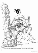 Coloring Victorian Books Corset Adult History Sheets sketch template
