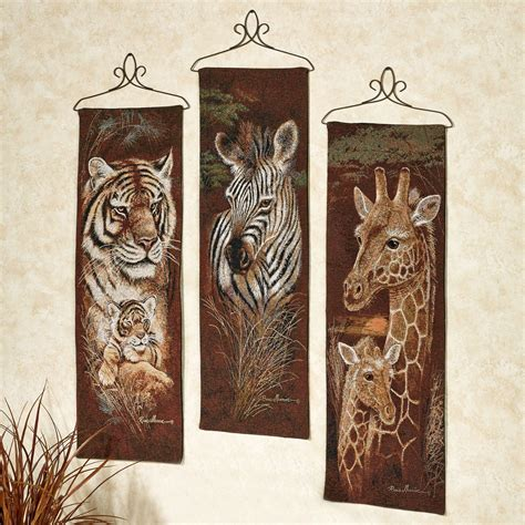 Leopard Bathroom Wall Decor by Safari Animal Wall Tapestry Panel Set