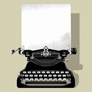 Drawing Of Old Typewriter With A Paper In Black And White ...