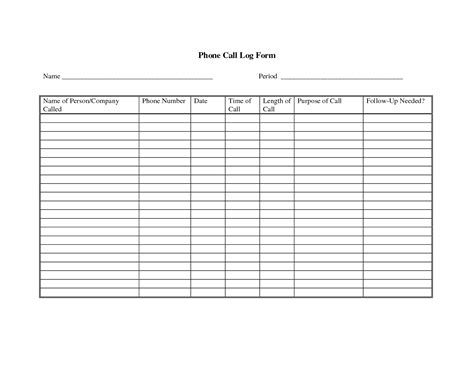 phone log template 5 best images of printable call log sheet free printable phone call log template free