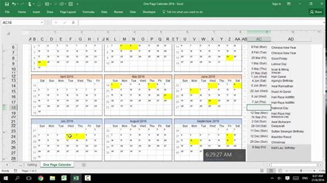 excel customizable calendar year