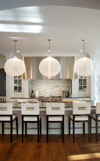 Modern Kitchen Bar Counter Stools For Sale by Spacious Modern Kitchen With Oversized Orb Pendant