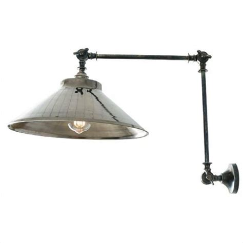 adjustable angled vintage wall light with antique silver