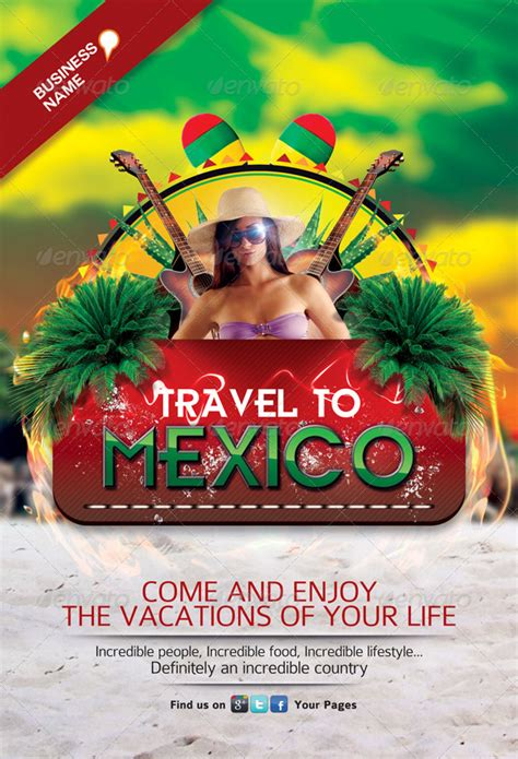 Travel to Mexico Flyer Template by Juhrrex   GraphicRiver