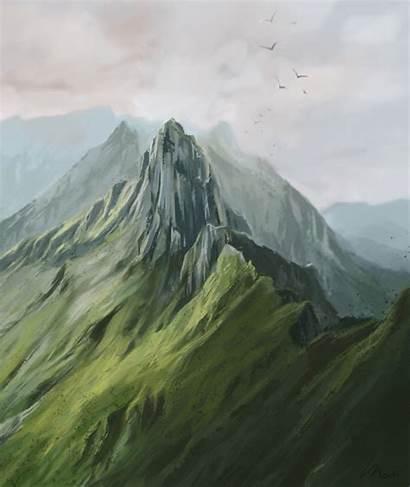 Digital Mountains Landscape Switzerland Painting Mountain Mind