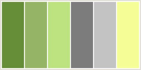 what colour scheme goes with grey colorcombo170 with hex colors 668e39 96b566 bce27f 7c7c7c c3c3c3 f6ff97