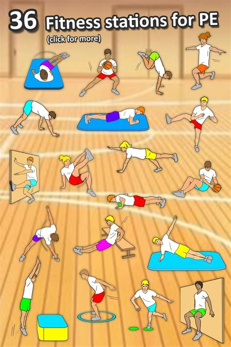 fitness circuit station cards  pe activities