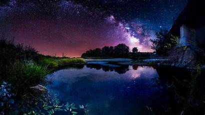 Night Sky Starry Pond Stars Milky Way