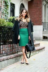 The Corporate Catwalk Green Pencil Skirt u0026 Leopard Top - The Corporate Catwalk