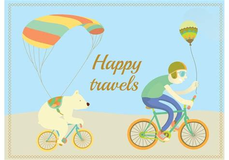 Happy Travels Cycling Character Vectors Download Free