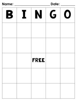 blank bingo board freebie by believe teach with jo