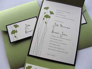 green flower stems wedding pocket invitation little flamingo With pocket wedding invitations online australia