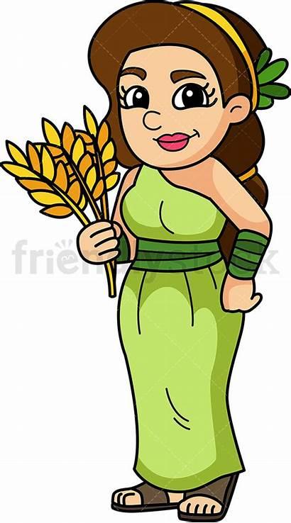Demeter Goddess Clipart Greek Cartoon God Vector