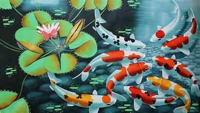 Koi Fish Wallpapers Pond Artwork Japanese Background