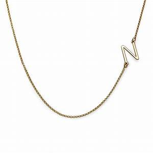 sideways initial necklace in 18k gold plating mynamenecklace With sideways letter necklace gold