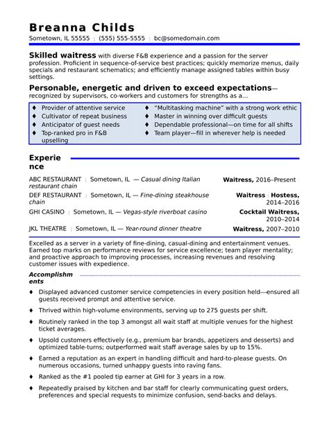 Serving Resume Template by Waitress Resume Sle