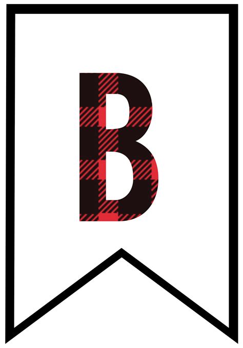 buffalo plaid  printable banner letters paper trail