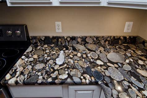 Kitchen Mosaic Backsplash Ideas - black mosaic gold granite marinace granite kitchen traditional kitchen dc metro by