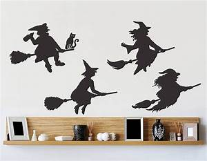 halloween witches wall sticker set contemporary wall With halloween wall decals