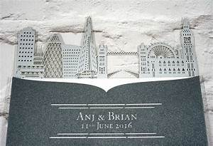 London skyline intricate creations for Laser cut wedding invitations london