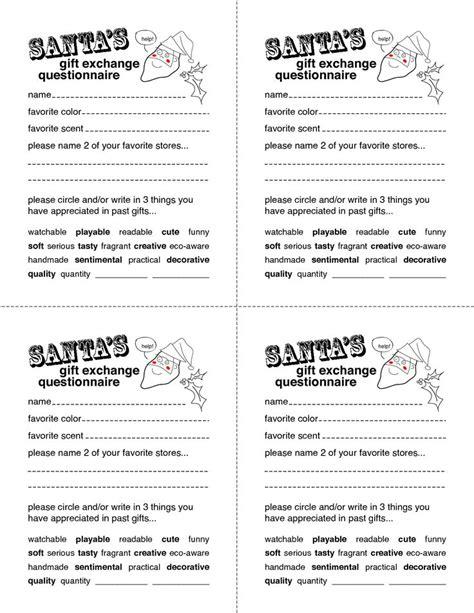 secret santa wish list template secret santa gift exchange forms secret santa questionnaire templates http www docstoc