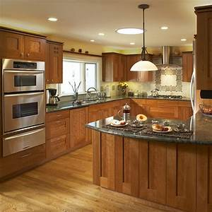 Lighting for kitchen photography : Light cherry cabinets kitchen pictures