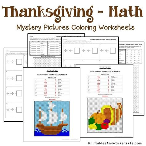 Thanksgiving Fractions Mystery Pictures Coloring Worksheets  Printables & Worksheets