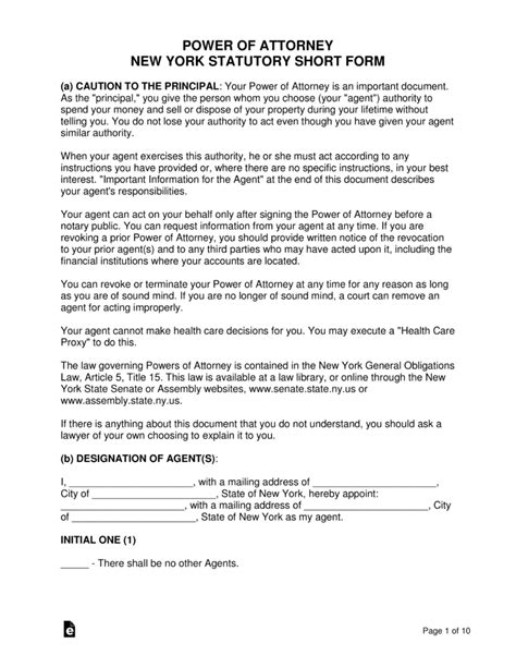 blank power of attorney form ny free new york power of attorney forms pdf word