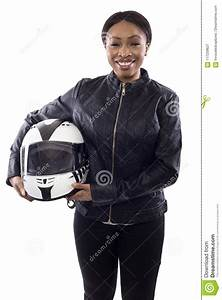Black Female Racer Or Biker Or Stunt Woman Holding A ...