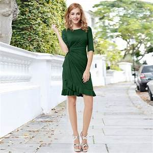 robe vert de soiree drape avec manche mi longue vert With robe de soirée mi longue avec manche