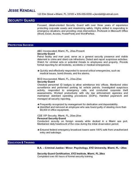 security guard resume exle free resume templates