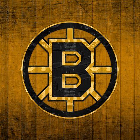 Boston Bruins Logo Wallpaper Boston Bruins Hockey Team Retro Logo Vintage Recycled Massachusetts License Plate Art Mixed