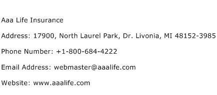 aaa life insurance address contact number  aaa life