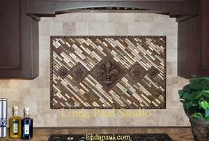 studded fleur medallion backsplash idea and installation With kitchen colors with white cabinets with metal fleur de lis wall art