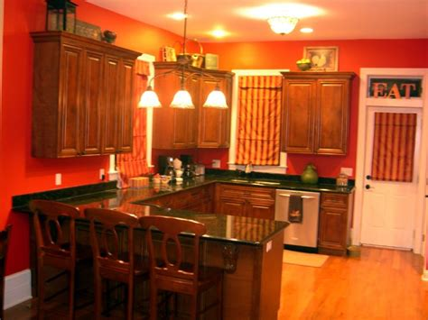 Antique White Cabinets With Red Walls