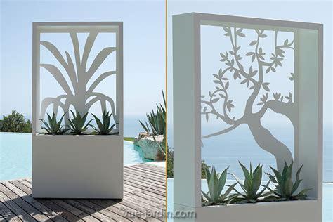 Brise Vue Design avec silhouette du0026#39;arbre en acier blanc ou noir
