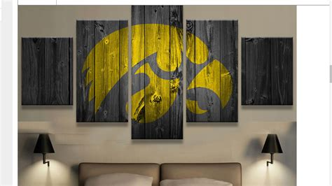 home decor wall posters large framed iowa hawkeyes college barn wood style canvas