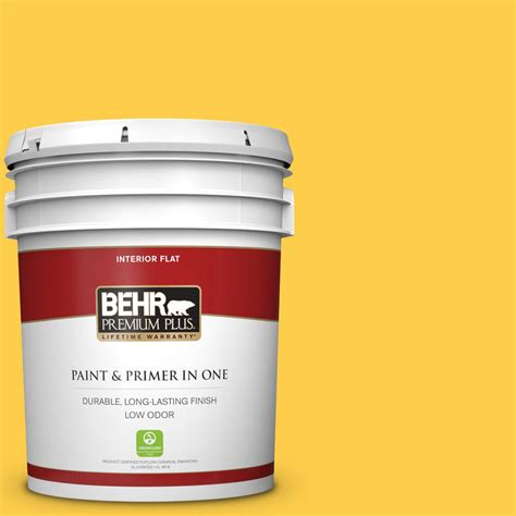 behr premium plus 5 gal 360b 6 flame yellow flat low odor interior paint and primer in one