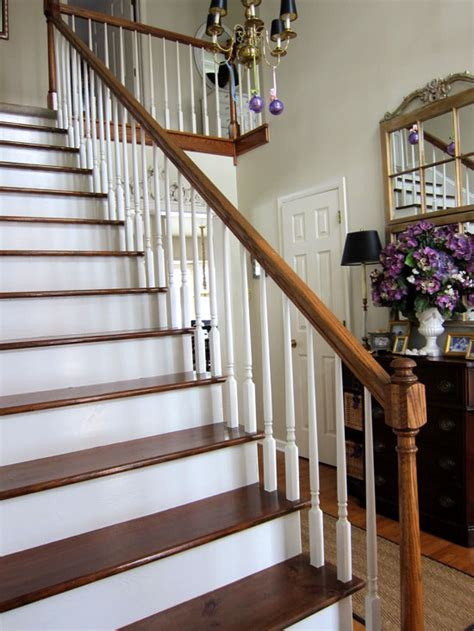 refinishing hardwood stairs monk 39 my foyer staircase makeover reveal in my own style