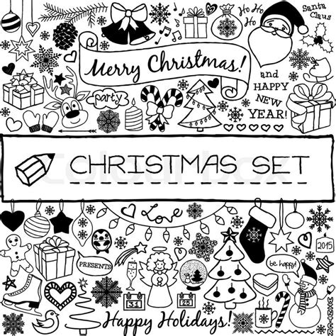 doodle christmas season icons  vintage graphic elements