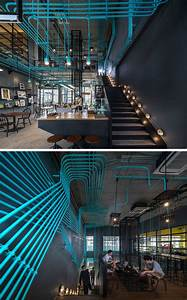 Drop Light Turquoise Electrical Conduit Is A Design Feature Running