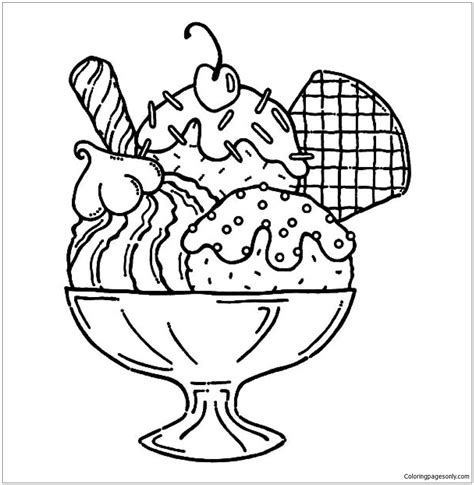 ice cream sundae coloring page  coloring pages