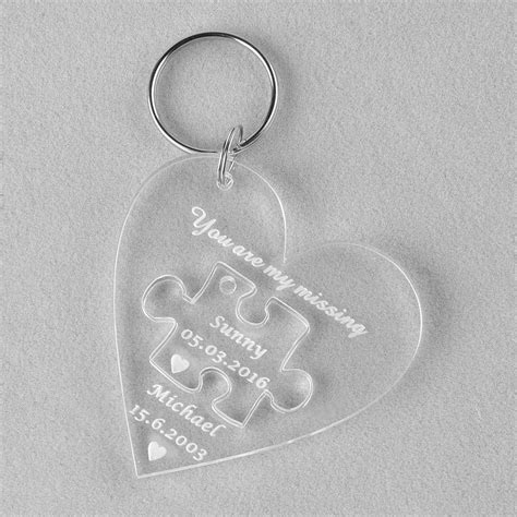 personalized puzzle keychain 1 clear personalized laser engraved keychain puzzle