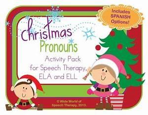 Pronoun Christmas Pack w/ Bilingual Spanish Speech Therapy ...